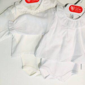 Body 2 piezas M Larga Camisa cuello volante Color Crudo Blanco