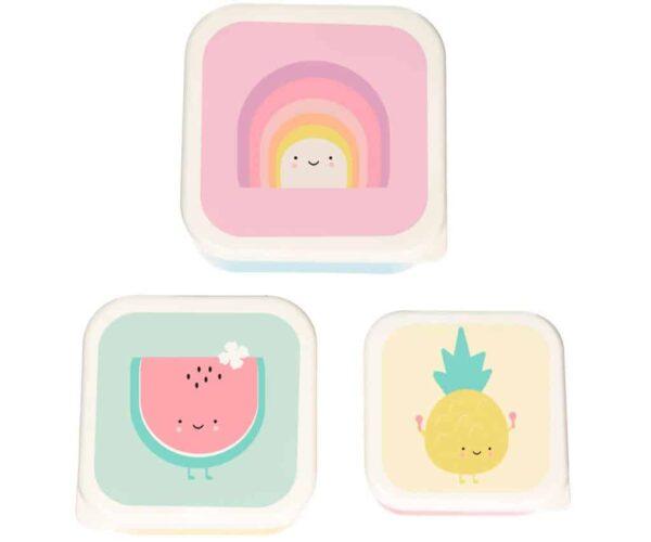 taper Pack 3 Cajas Almuerzo Amigos Fruta