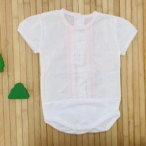 Body camisa puntilla rosa m corta