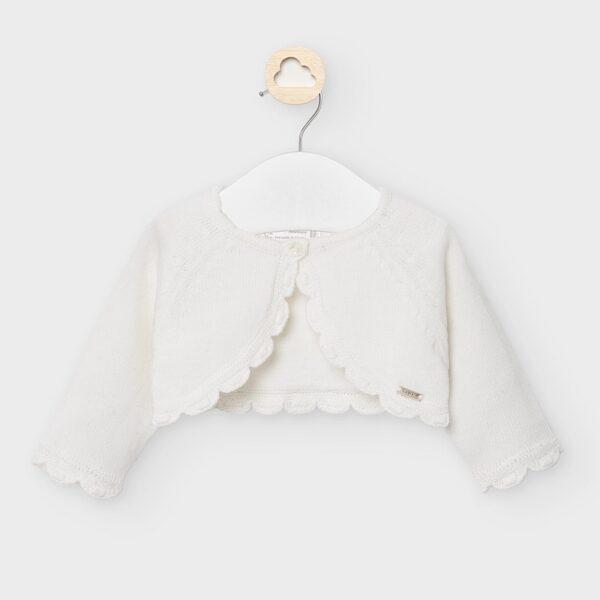rebeca crta tricot recien nacido niña cruda mayoral