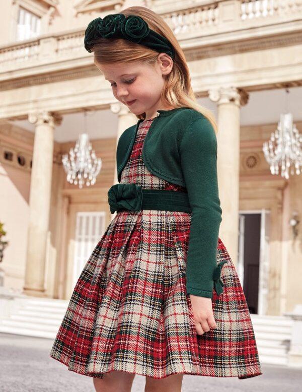 Vestido cuadros escoceses Verde Botella