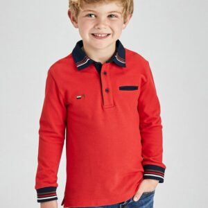 Polo Manga larga vestir niño Rojo Mini